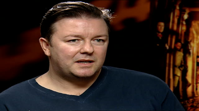 'night at the museum': ricky gervais role; england:london: int ricky gervais interview sot - talks about his role in ' night at the museum' - ricky gervais stock videos & royalty-free footage