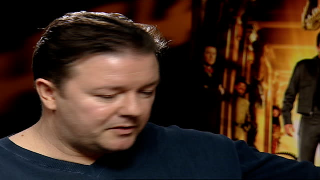 'night at the museum': ricky gervais role; ricky gervais interview sot - still love london/ being famous on your own doorstep gives me the creeps/... - ricky gervais stock videos & royalty-free footage
