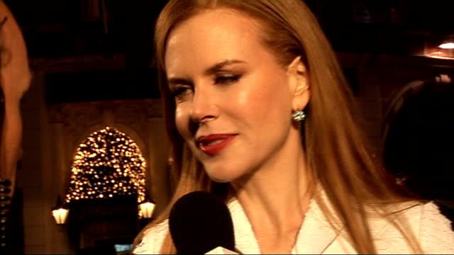 'Nine' premiere in London red carpet interviews General views Nicole Kidman speaking to reporters on red carpet / Nicole Kidman interview SOT On...