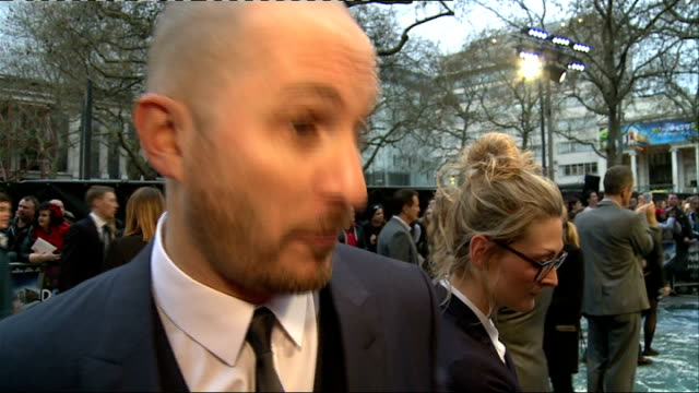 'noah' film london premiere arrivals and interviews aronofsky interview sot on controversy surrounding film / on casting of russell crowe and emma... - ray winstone stock videos & royalty-free footage