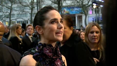 'noah' film london premiere: arrivals and interviews; close shots connelly as interviewed by press / various connelly in high-necked alexander... - wisdom stock-videos und b-roll-filmmaterial