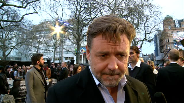 'noah' film london premiere arrivals and interviews russell crowe interview sot on being a physically demanding role jokes that its almost as... - russell crowe stock videos & royalty-free footage