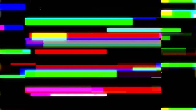 vidéos et rushes de bruit de film sur l'écran tv analogique vhs - lumière stroboscopique