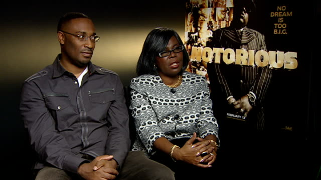 notorious big biopic interview with director and mother george tillman and voletta wallace interview continued sot - biggie smalls stock videos and b-roll footage