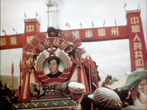 vídeos de stock e filmes b-roll de film of 3rd anniversary of the people's republic of china showcasing the advances made in 3 years - mao tse tung
