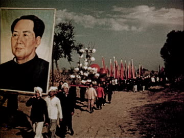 vidéos et rushes de film of 3rd anniversary of the people's republic of china showcasing the advances made in 3 years - communisme