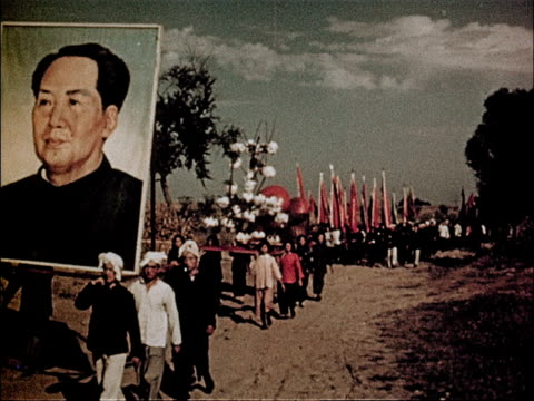 stockvideo's en b-roll-footage met film of 3rd anniversary of the people's republic of china showcasing the advances made in 3 years - communisme