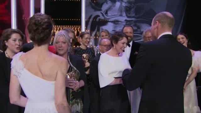 stockvideo's en b-roll-footage met olivia colman's odds of winning best actress oscar after her baftas triumph england london kensington royal albert hall photography** various shots... - bafta awards