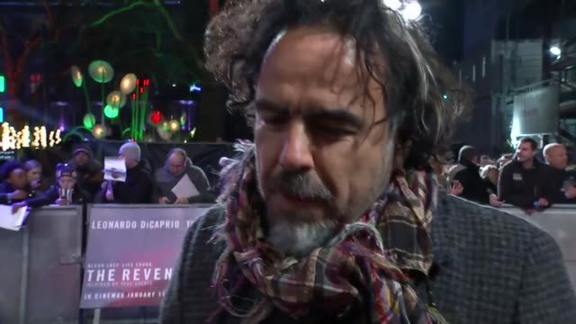 Oscar nominations announced Alejandro Gonzalez Inarritu red carpet interview at 'The Revenant' London premiere SOT
