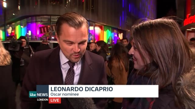 oscar nominations announced; england: london: leicester square: ext/night leonardo dicaprio live interview sot - on oscar nominations - amazing -... - epic film stock videos & royalty-free footage