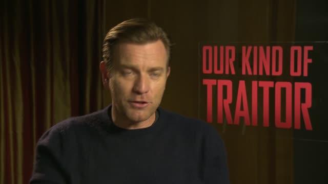 'Our Kind of Traitor' Ewan McGregor and Stellan Skarsgard intevriews ENGLAND London INT Ewan McGregor interview SOT re new film 'Our Kind of Traitor'