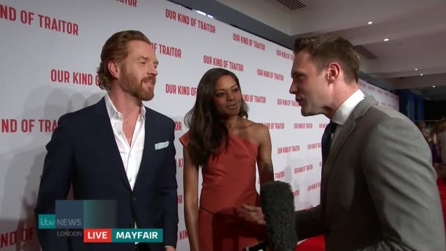 'Our Kind of Traitor' premiere ENGLAND London Mayfair INT Damian Lewis and Naomie Harris LIVE interview on red carpet SOT