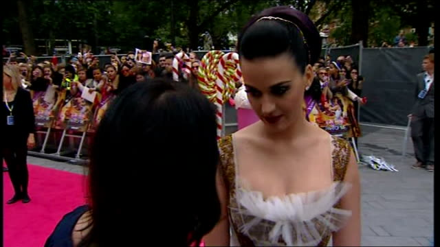 'part of me' film premiere england london leicester square photography** katy perry live red carpet interview sot - pink singer stock videos and b-roll footage