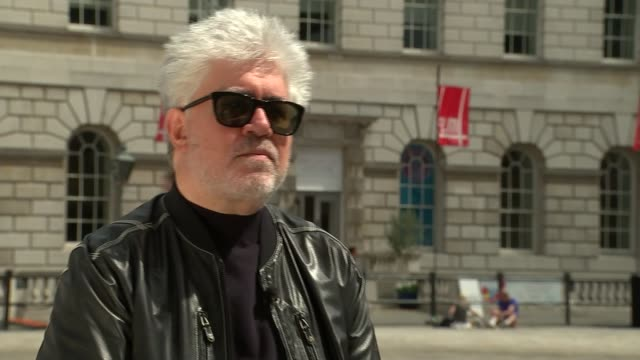 Pedro Almodovar interview ENGLAND London Somerset House EXT Pedro Almodovar along with reporter Pedro Almodovar interview SOT [Including some...