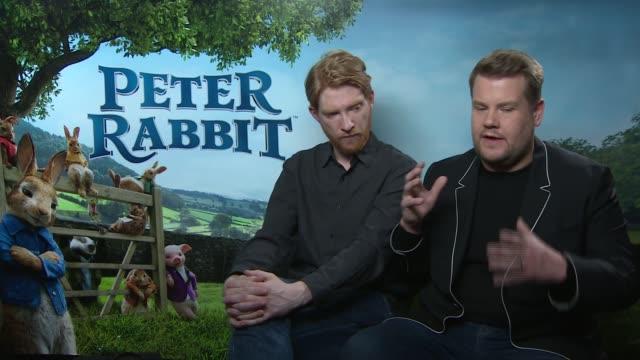 'Peter Rabbit' junket interviews ENGLAND London INT Domhnall Gleeson and James Corden interview SOT re new film 'Peter Rabbit'