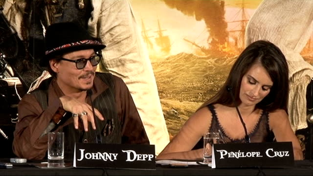 'Pirates of the Caribbean On Stranger Tides' press conference Johnny Depp press conference SOT On acting with Keith Richards who inspired Jack...