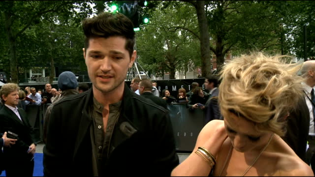 premier of 'prometheus danny o'donoghue and bo bruce interview sot - bruce stock videos & royalty-free footage