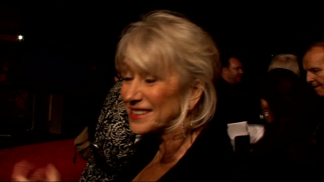 'red' film premiere arrivals and interviews helen mirren interview sot talks of being cold / talks of having bruce willis's hankerchief that she will... - bruce willis stock videos and b-roll footage