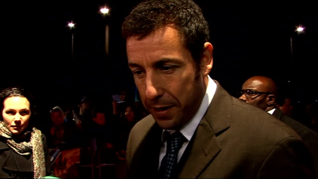 film premiere of 'bedtime stories' celebrity red carpet arrivals sandler speaking to press / adam sandler interview sot oow it's the perfect feel... - adam sandler stock videos & royalty-free footage