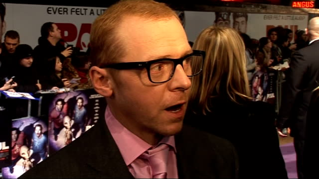 Film premiere of 'Paul' Arrivals and interviews Pegg speaking to press Simon Pegg interview SOT On movie synopsis / On it being more than just a...
