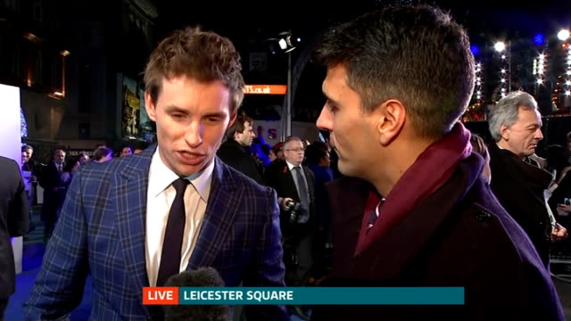 Premiere of 'The Theory of Everything' Stephen Hawking biopic Eddie Redmayne LIVE interview SOT