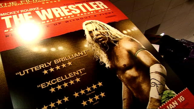 film premiere of 'the wrestler' in london mickey rourke photocall and interviews england london vue cinema photography** close ups of 'the wrestler'... - mickey rourke actor stock videos & royalty-free footage