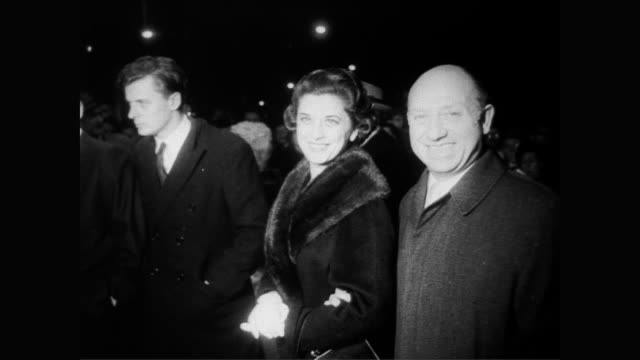 / film premiere of 'the young stranger' / celebrity guests arriving / notables are: senator jacob javits and his wife, dorothy and lillian gish,... - film premiere stock videos & royalty-free footage