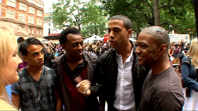 film premiere 'transformers revenge of the fallen' at leicester square jls interview on red carpet sot on working on their music video / who is the... - boy band stock videos & royalty-free footage