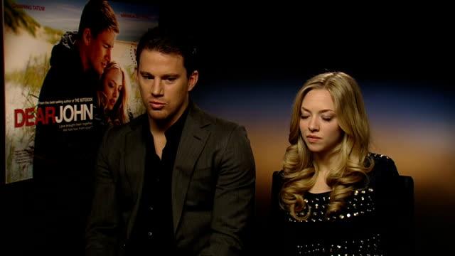 press junket for 'Dear John' Channing Tatum and Amanda Seyfried interviewed ENGLAND London INT Channing Tatum and Amanda Seyfried interviewed SOT...
