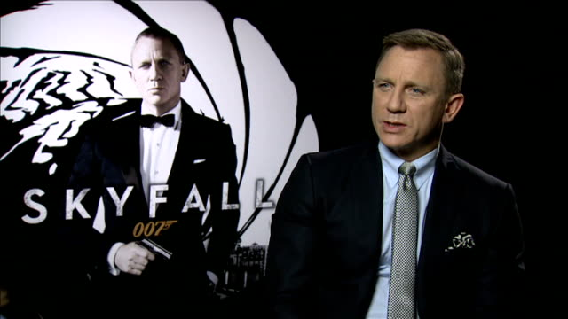 preview of new james bond film skyfall daniel craig interview sot trying to bring elements of doing what's right / if that's a british thing that's a... - skyfall stock videos and b-roll footage