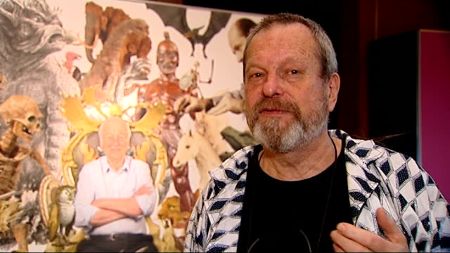 stockvideo's en b-roll-footage met ray harryhausen exhibition at the london film museum terry gilliam interview sot - terry gilliam