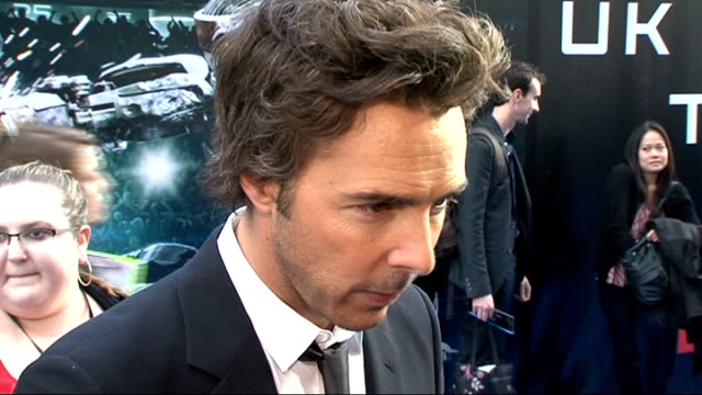 'Real Steel' film premiere in London Shawn Levy gvs / Hugh Jackman interview SOT On not being worried about being upstaged by a robot * On the film...