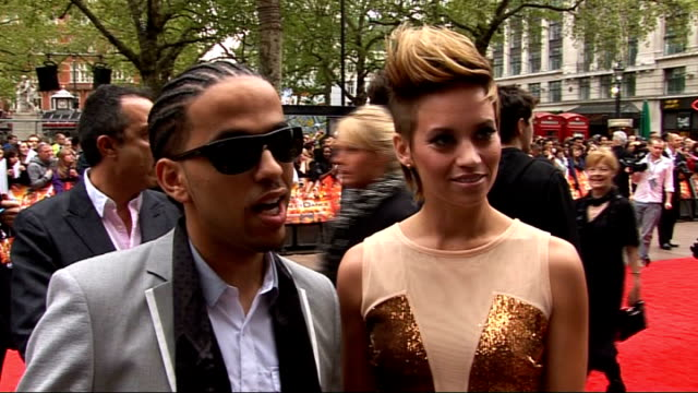red carpet arrivals and interviews at streetdance 3d premiere; kimberley wyatt and aggro santos talking to press wyatt and santos interview sot - on... - britain's got talent stock-videos und b-roll-filmmaterial