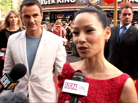 red carpet interviews at kung fu panda premiere; lucy liu speaking to press sot - on pleasure on being cast as snake / on not preparing / i just went... - lucy liu stock videos & royalty-free footage