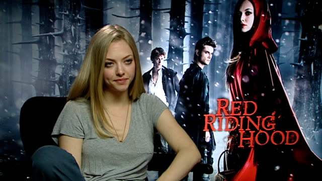 'Red Riding Hood' interviews ENGLAND London INT Amanda Seyfried interview SOT end result dark enough set was dark and fun describes character and...