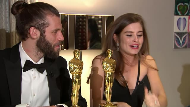 renewed battle cry for women's representation at the academy awards los angeles hollywood int chris overton and rachel shenton interview sot - 90th annual academy awards stock videos & royalty-free footage