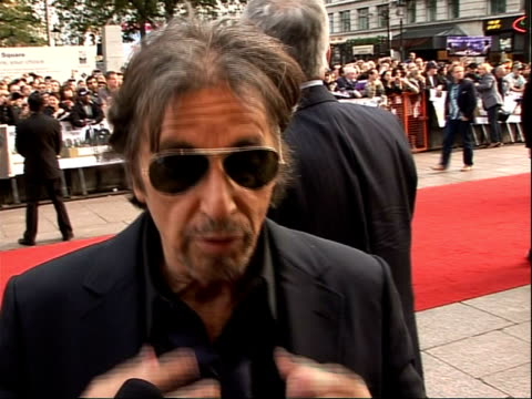 'Righteous Kill' UK premiere red carpet arrivals and interviews Al Pacino talking to reporters along red carpet Al Pacino interview SOT On it being...