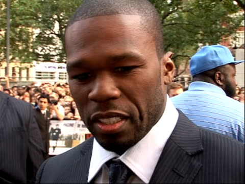 'righteous kill' uk premiere red carpet arrivals and interviews good general views 50 cent speaking to press sot - fifty cent coin stock videos and b-roll footage