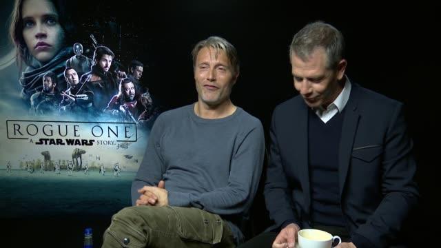 'Rogue One A Star Wars Story' Junket interviews Mads Mikkelsen and Ben Mendelsohn interview SOT