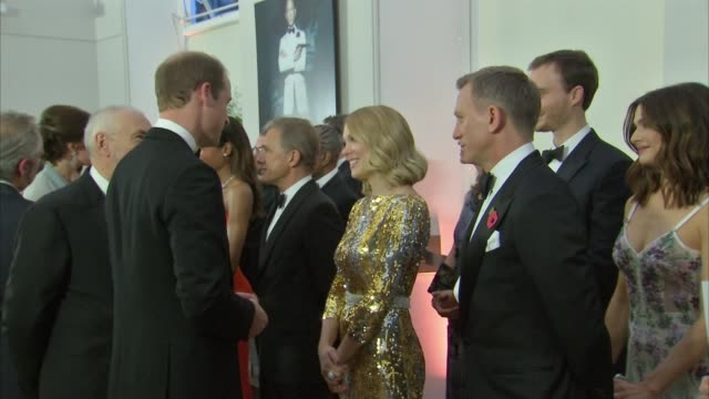 royals attend new james bond film 'spectre' premiere arrivals / meeting cast william meeting monica bellucci ralph fiennes naomie harris christoph... - james bond fictional character stock videos and b-roll footage
