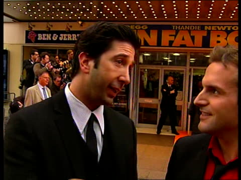 'Run Fat Boy Run' ENGLAND London Leicester Square PHOTOGRAPHY *** David Schwimmer and Simon Pegg LIVE interview SOT On how they came to work together...