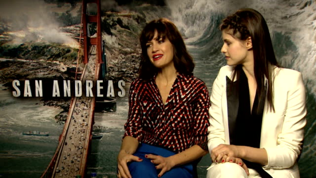 'San Andreas' junket interviews ENGLAND London INT Carla Gugino and Alexandra Daddario interview SOT