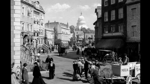 film set depicting 19th century washington dc / matte removed to expose unfinished, fake buildings. film set depicting 19th century washington dc on... - 19th century style stock videos & royalty-free footage