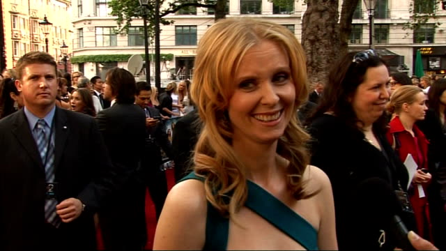 'sex and the city 2' london premiere celebrity arrivals and interviews cynthia nixon interviewed by other crew sot on glamour in desert but they had... - cynthia nixon stock videos and b-roll footage