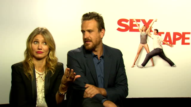 'Sex Tape' Jason Segel and Cameron Diaz interview ENGLAND London INT Cameron Diaz and Jason Segel interview SOT Includes comments on hacking of...