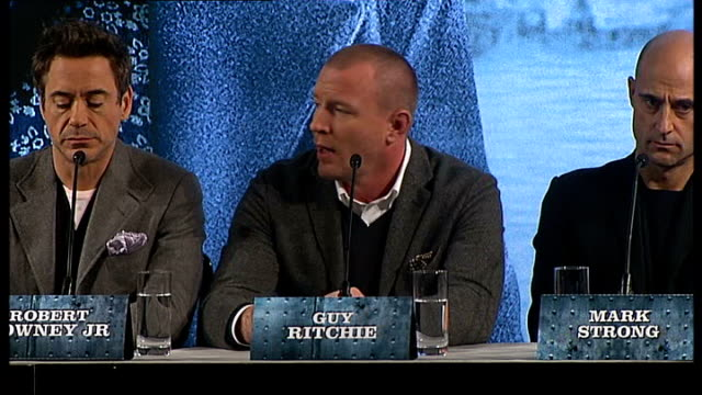'sherlock holmes': cast and director press conference; guy ritchie press conference sot - on whether this film is the most accurate film version of... - arthur conan doyle stock videos & royalty-free footage