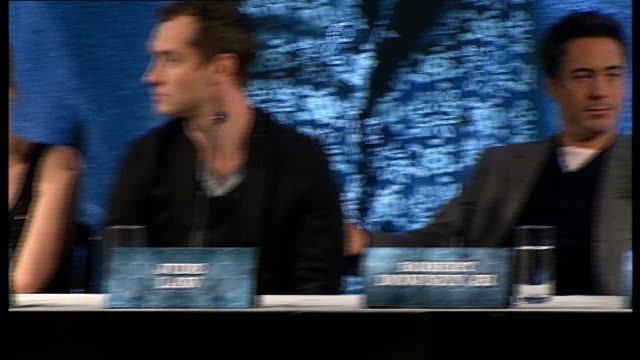 'sherlock holmes': cast and director press conference; jude law press conference sot - on filming locations in the uk susan downey press conference... - sherlock holmes stock videos & royalty-free footage