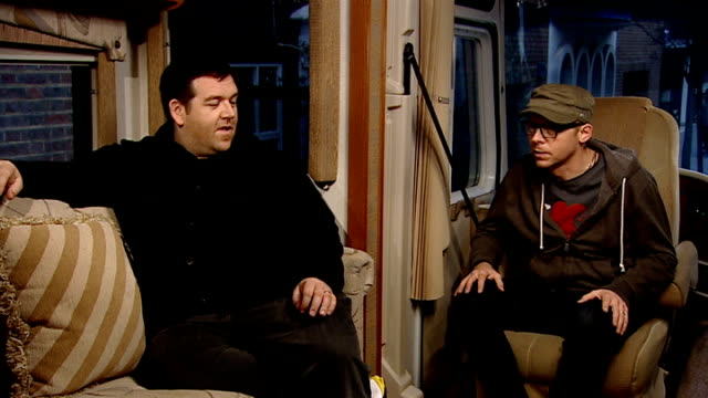 simon pegg and nick frost interview int pegg talking about how great it was to work with weaver sot - simon pegg stock videos & royalty-free footage
