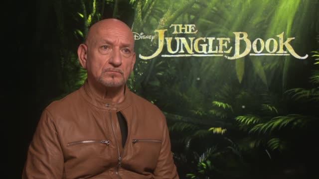 sir ben kingsley interview england london int sir ben kingsley interview sot re new film 'the jungle book' and rudyard kipling - ben kingsley stock videos and b-roll footage