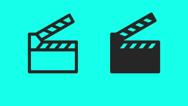 film slate icons - vector animate - film editing stock videos & royalty-free footage